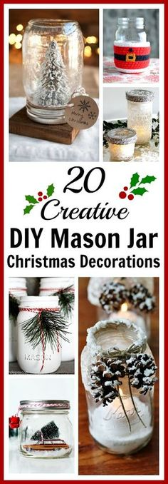 20 Creative DIY Mason Jar Christmas Decorations- If you want new Christmas decor to display this year, don't spend a fortune at the store! Instead, make some pretty DIY Mason jar Christmas decorations (Bottle Display Mason Jars) Mason Jar Christmas Decorations, Christmas Mason Jars, Craft Decorations, Christmas Arrangements, Pot Mason Diy, Mason Jar Gifts, Simple Christmas, Christmas Diy, Christmas Ornaments
