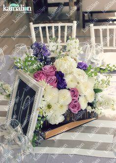 www.kamalion.com.mx - Decoración / Centros de Mesa / Morado / Purple / Lilac & Mint / Vintage / Rustic Decor / Wedding / Boda / Centerpiece / Blanco / Books / Libros / Menta.
