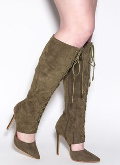 Major Influence Lace Up Boots #laceup #boots #olive #pointy #gojane