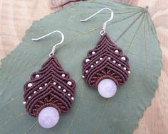 Rose quartz macrame earrings micro macrame macrame by SelinofosArt