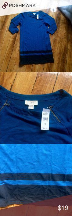NWT loft blue and black 3/4 sleeve dress 3/4 sleeve dress, black and blue, NWT LOFT Dresses Long Sleeve