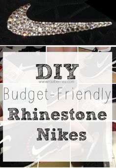 Budget-Friendly DIY Rhinestone Nikes- with glue, rhinestones, and a pair of sneakers, you too can rock these bedazzled kicks! Nike Shoes For Sale, Nike Shoes Cheap, Nike Free Shoes, Running Shoes Nike, Cheap Nike, Diy Fashion, Runway Fashion, Fashion Models, Fashion Shoes
