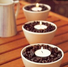Coffee beans and tea light candles! Great idea