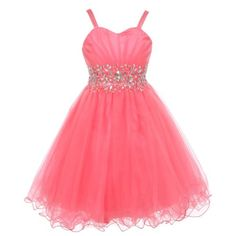 2ecb7b73689 Little Girls Coral Stone Encrusted Pleated Tulle Party Dress 4