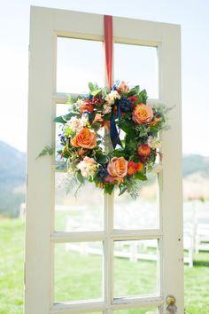 Fall wedding wreath | Blue Rose Photography | Floral – Patti Bosket Au Naturel