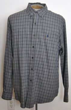 Ralph Lauren Polo Shirt XL Classic Fit Gray Plaid Cotton Long Sleeve Button-Down #RalphLaurenPolo free shipping Buy Now  $16.99