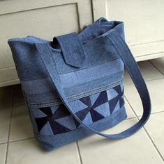 recycl jean, denim bag, bolso quilt, pin wheel