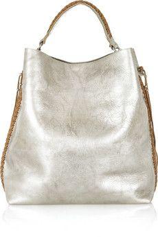 052b46550f Ralph Lauren Collection - Laced metallic leather tote · Moda FashionWomens  FashionMetallic LeatherMetallic BagsSilver ...