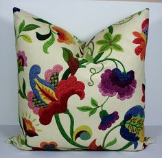 Designer pillow cover BOTH SIDES 22x22 Decorative throw pillow - natural - plum - red - blue - green - raspberry - floral cushion. $50.00, via Etsy.