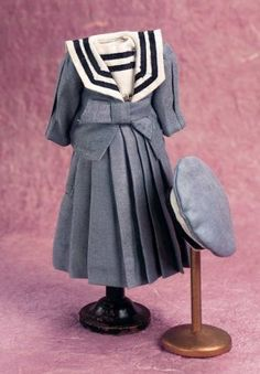 Smoke Blue Plosihed Silk Sailor Ensemble with Cap. http://florenceandgeorge.com