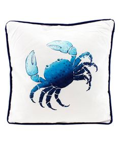 Another great find on #zulily! Blue & White Crab Throw Pillow #zulilyfinds
