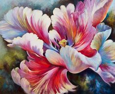 White Tulip Painting- Pastel - by Nel Whatmore Star of The Garden