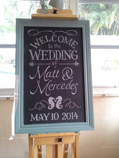 Wedding entry chalkboard