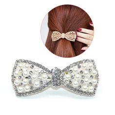 NEW Ladies Women SEQUIN BOW Head Hair Clip Girls Gem Party Wedding Hair Grip Pin