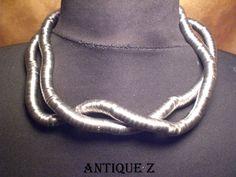 Breil-Milano, Satin Steel Eden Snake reticulated necklace by AntiqueBoutiqueZ on Etsy