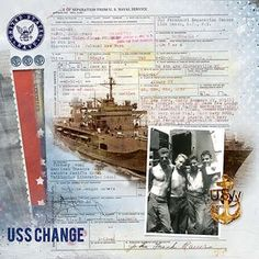 USS Change ~ Digital heritage military page with a scan of official military documents for the background.