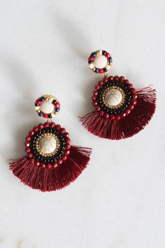 Yellow Tassel Earrings, Bridal Earrings, Beaded Earrings, Statement Earrings, Earrings Handmade, Thread Jewellery, Tassel Jewelry, Soutache Jewelry, Fabric Jewelry