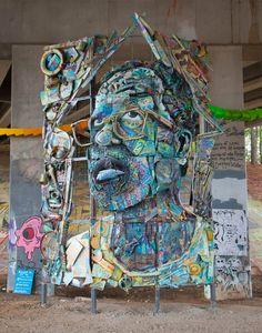 Atlanta, GA artist William Massey #artistaday #ArtistOfTheDay #emergingart #ATLArt #recycled Famous Art Pieces, Amazing Street Art, Amazing Art, Best Street Art, Art Programs, William Massey, Mural Art, Street Artists, Graffiti Art
