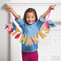 Dress any mantel or doorway with this quick and easy Thanksgiving craft for kids. Just cut leaves from our free template (available below), then glue to ribbon or string along with store-bought glitter letters. Thanksgiving Banner, Thanksgiving Crafts For Kids, Thanksgiving Traditions, Thanksgiving Activities, Easy Crafts For Kids, Cute Crafts, Thanksgiving Decorations, Fall Crafts, Holiday Crafts