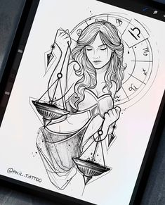 Tattoo Sketches, Art Drawings Sketches, Tattoo Drawings, Bild Tattoos, Body Art Tattoos, Zodiac Art, Zodiac Signs, Libra Tattoo, Tattoo Stencils