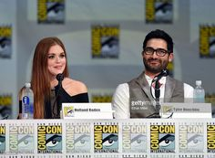 Actors Holland Roden (L) and Tyler Hoechlin attend MTV's 'Teen Wolf' panel during Comic-Con International 2014 at the San Diego Convention Center on July 24, 2014 in San Diego, California.