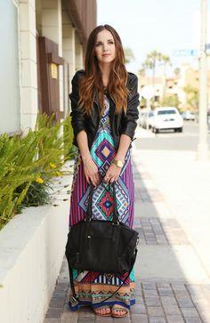 Maxi Dress, Leather Jacket, Flat Sandals