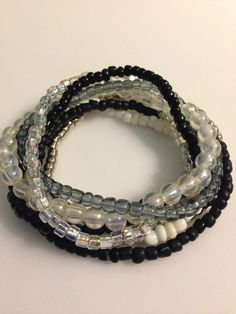 Stretchy Bead Stack Bracelet Set Midnight Ice by LBBeadedCreations