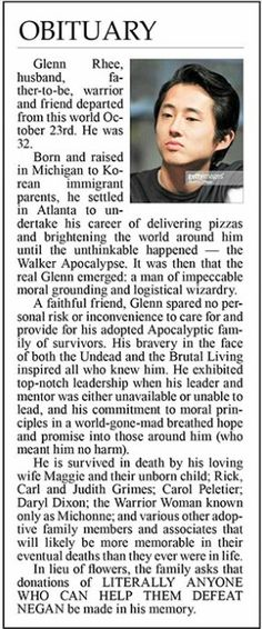 Obituary posted in The Batesville Daily Guard after the death of Glenn.