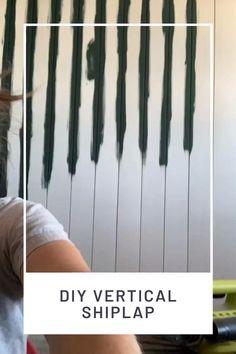 How to install DIY vertical shiplap Wooden Accent Wall, Accent Wall Bedroom, Boho Bedroom Diy, Installing Shiplap, Family Room Walls, Shiplap Fireplace, Shiplap Bathroom, Farmhouse Remodel, Plank Walls