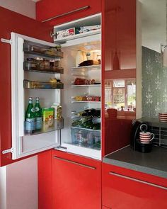 Red kitchen cabinets look exciting and bold, making a statement and bringing lots of energy into kitchen design Kitchen Cabinets Grey And White, Two Tone Kitchen Cabinets, Rustic Kitchen Cabinets, Kitchen Countertops, Owl Kitchen Decor, Kitchen Interior, Kitchen Ideas, Kitchen Color Themes, Red Kitchen Accessories