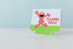 Sesame Street Elmo thank you card. Make It Now with the Cricut Explore machine in Cricut Design Space.