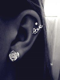 Striking Silver Cartilage Love Earrings Stud for Fashion Girl