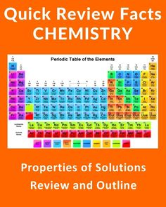 Properties of Solutions - Quick Review Chemistry Notes and Outline #education #science #school #college #math #teacher #download #literature #studyaids https://sellfy.com/p/VxP0/ https://www.pinterest.com/sellfy0234