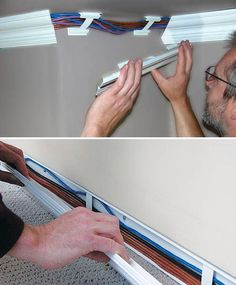 Wiretracks look like crown molding, but hide wires. Cool idea!