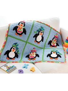 Crochet - Children & Baby Patterns - Blankets - Playful Penguins Blanket