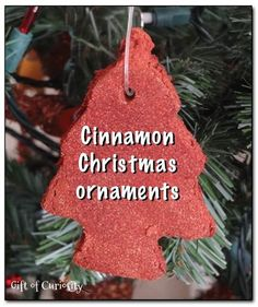 Cinnamon Christmas ornaments - an easy, 2-ingredient recipe for making simple and fragrant cinnamon Christmas ornaments. This would be an awesome Christmas craft to do with the kids this year! || Gift of Curiosity