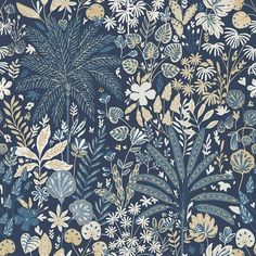 Hope by Caselio - Dark Blue and Gold - Wallpaper : Wallpaper Direct Gold Home Interior Design Blue Wallpaper Bedroom, Blue And Gold Wallpaper, Powder Room Wallpaper, Navy Wallpaper, Antique Wallpaper, Botanical Wallpaper, Metallic Wallpaper, Blue Wallpapers, Pattern Wallpaper