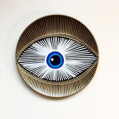 Evil Eye Decor - Decorative Plate - Golden Evil Eye  - Golden and Blue - Evil Eye Wall Art - Modern Art - Wall Hanging - Art Evil Eye by biancafreitas on Etsy