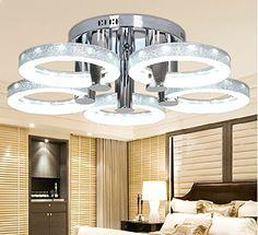 Marvelous GFJ Moderne LED Kronleuchter Deckenleuchte mit Kopf Deckenleuchte f r Restaurants Zimmer K che und Wohnzimmer silver
