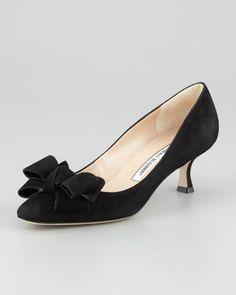 Lisanewbo Suede Low-Heel Bow Pump, Black by Manolo Blahnik at Neiman Marcus.