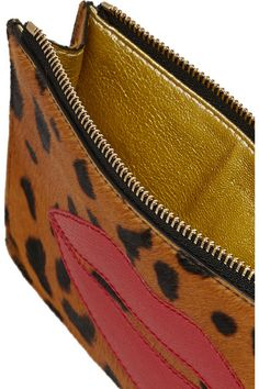 charlotte olympia pouty appliqud leopard print calf hair pouch