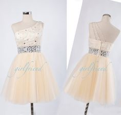 Cute one-shoulder chiffon dress with beading