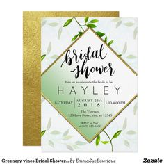 Greenery vines Bridal Shower Invitation Gold Foil