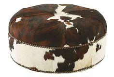 Jackson Round Hide Ottoman, Brown/White on OneKingsLane.com