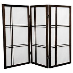 Add an elegant touch to any room with this Oriental Furniture Four-Panel Walnut Double Cross Shoji Screen. Allows diffused light to pass through. Decor, Furniture, Glass Room, Glass Room Divider, Room Divider Screen, Shoji Screen, Oriental Furniture, Paneling, Bamboo Room Divider