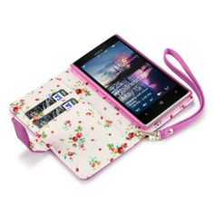 Hot Pink Premium PU Leather Wallet Case with Floral Interior for Nokia Lumia 925
