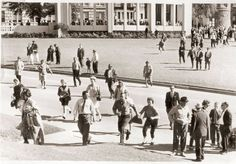 Dealey Plaza after the JFK assassination. At right Mary Moorman examines her Polaroid photo as Harry D. Holmes looks on.