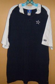 Mens NFL Football DALLAS COWBOYS Two Button Cotton Shirt Blue White Size 3XL #DallasCowboys #DallasCowboys
