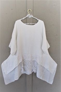 868db9bd315 upcycled white Lagenlook clothing tunic top recycled Boho 1 X Bohemian  gypsy beach Wearable Art sustainable reclaimed LillieNoraDryGoods