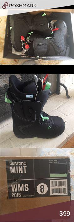 Brand new women's burton snowboard boots New in box . Women's size 8. Black with mint detail Burton Other